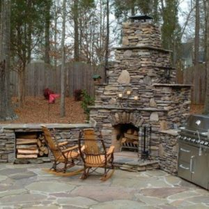 Stone Fire Place and Stone Patio Jenks Oklahoma