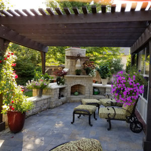 Outdoor Living Area w/ Pergola - Fireplace | Jenks