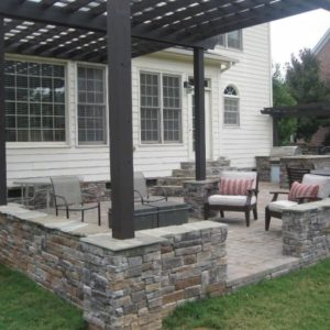 Pergola Stack Stone Paver Patio Outdoor Kitchen