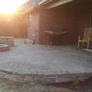 Stone & Paver Patio with Firepit