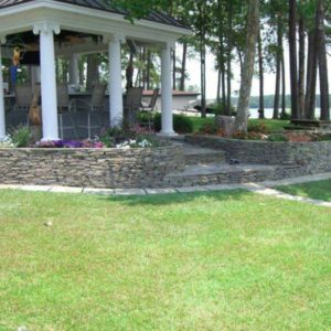 Retaining Wall with Step Through