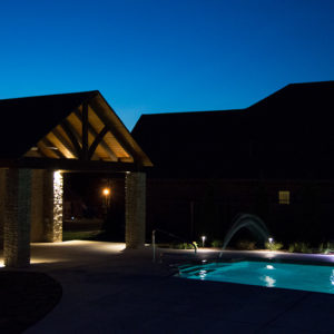 Outdoor Living Area w/ Pavilion & Pool at Night