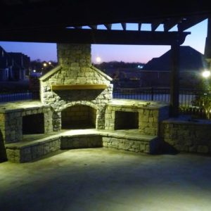 Tulsa OK Outdoor Kitchen w/ Night Lighting & Pergola