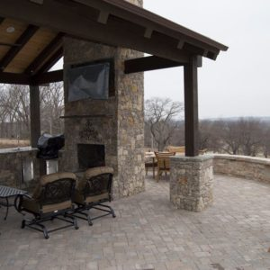 Outdoor Fireplace w/ TV under Pavilion