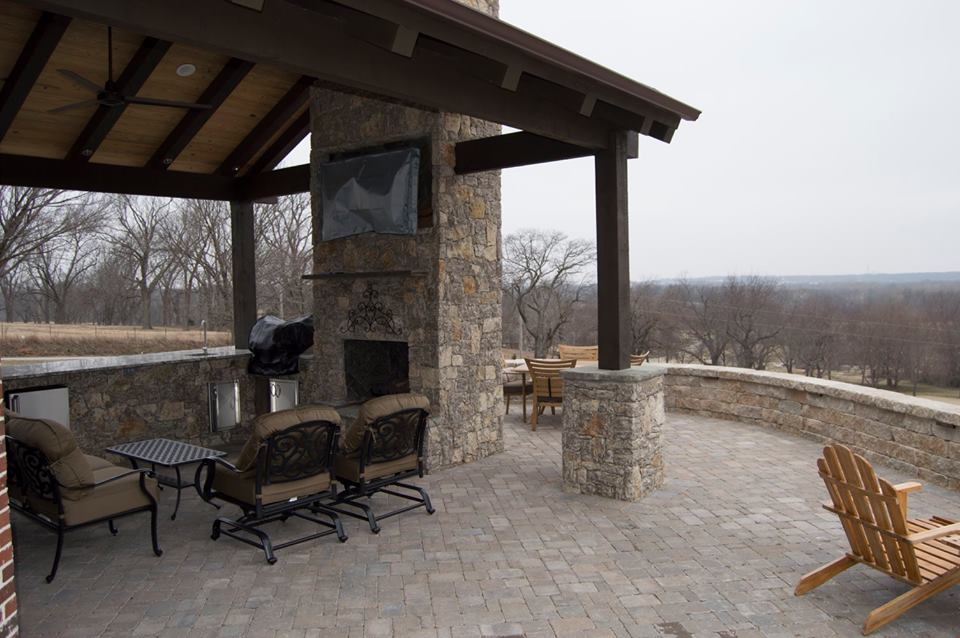 Outdoor Fireplace W Tv Under Pavilion