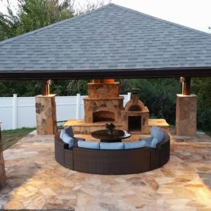 Tulsa OK Outdoor Fireplace w/ Seating Under Pavilion