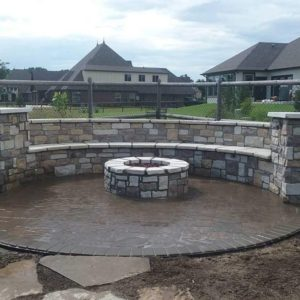Tulsa OK Firepit w/ Retaining Wall Seating