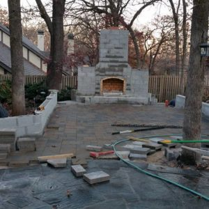 Belgard Paver Patio & Outdoor Fireplace Construction