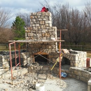 Fireplace in Progress in Broken Arrow, Oklahoma