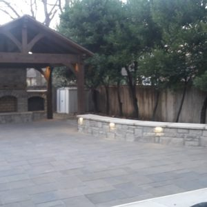 Paver Patio Outdoor Pavilion & Stone Fireplace
