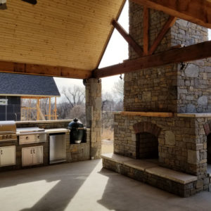 Tulsa OK Outdoor Living Area w/ Kitchen, Fireplace, & Pavilion