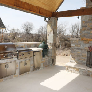 Outdoor Living with Kitchen and Fire Place Tulsa