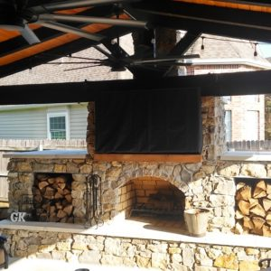 Outdoor Cedar Pavilion and Fireplace Tulsa OK