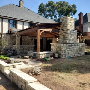 Stone Fireplaces and Cedar Pavilions Tulsa OK